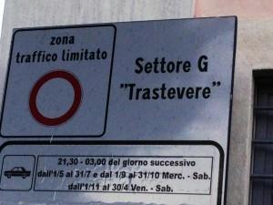 Cartello che indica il settore di pertinenza della ZTL Trastevere